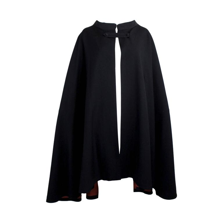 1960s Pierre Cardin Iconic Black Wool Cape with Silk Lining 1