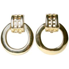 Unworn Signed Givenchy Vintage Gold Clip Back Earrings