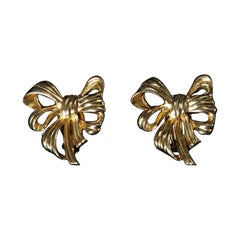 Signed Givenchy Vintage Gold Plated Big Bow Clip Back Earrings