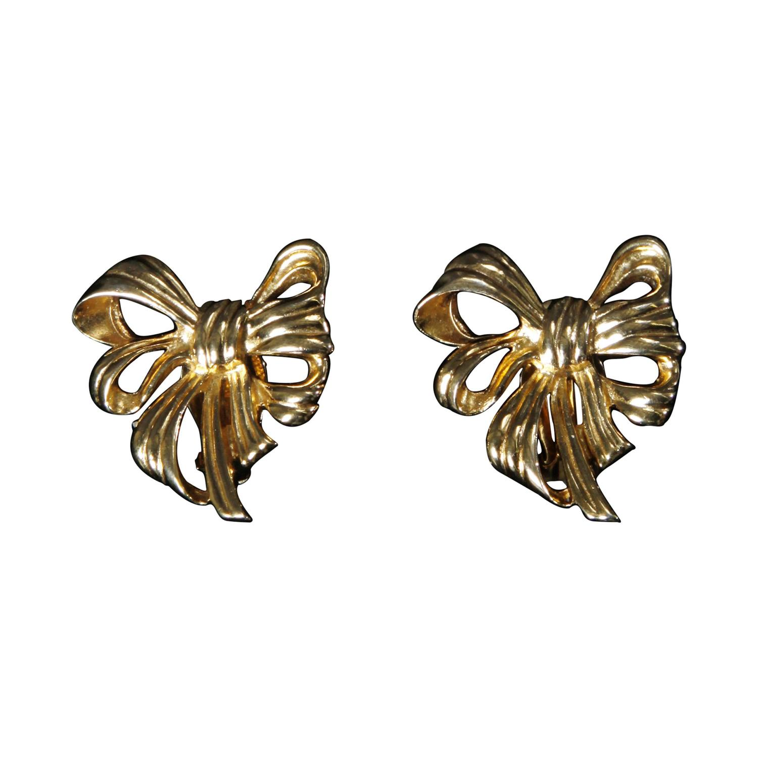 Signed Givenchy Vintage Gold Plated Bow Clip Back Earrings For At 1stdibs