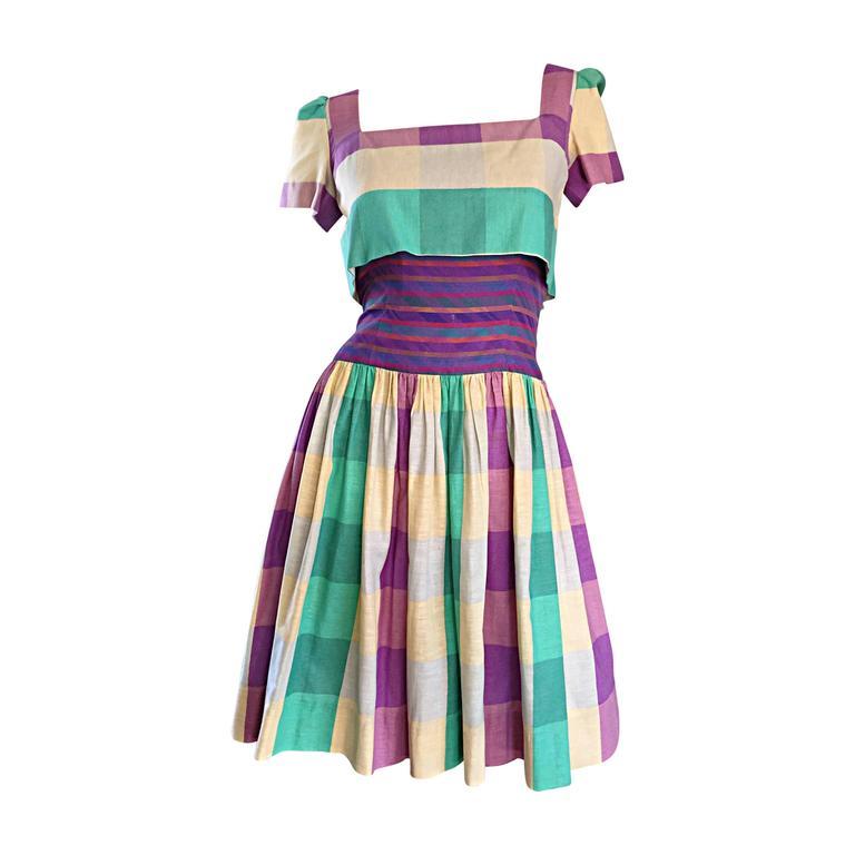 Bob Mackie For Neiman Marcus Important Cotton Plaid 50s Style Vintage Dress