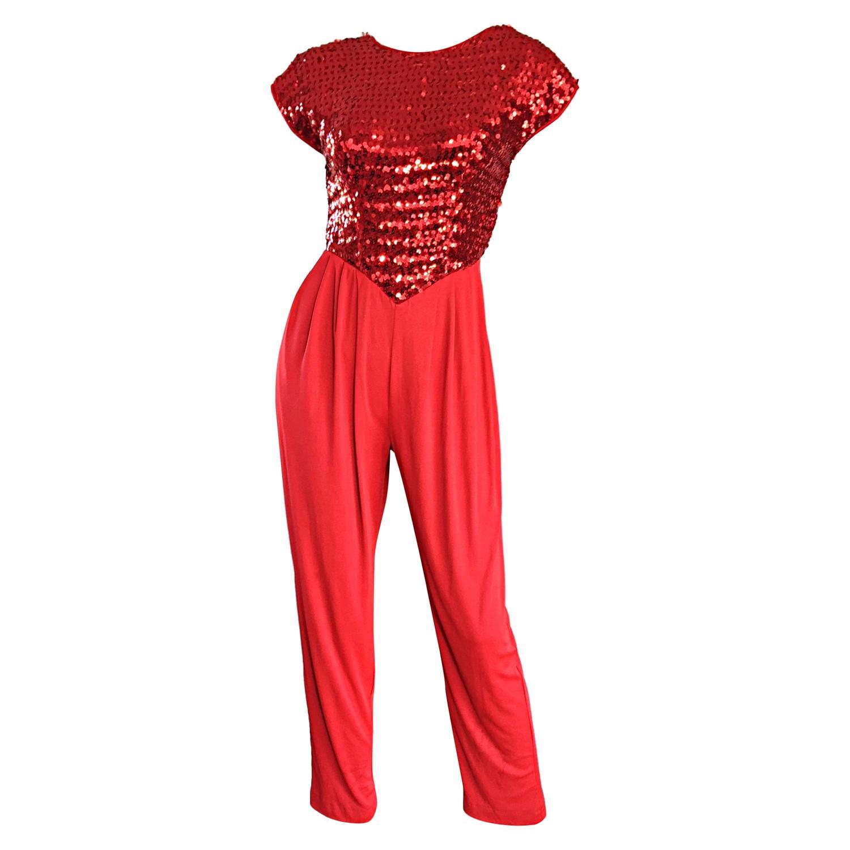 lipstick red vintage studio 54 sequin  jersey jumpsuit