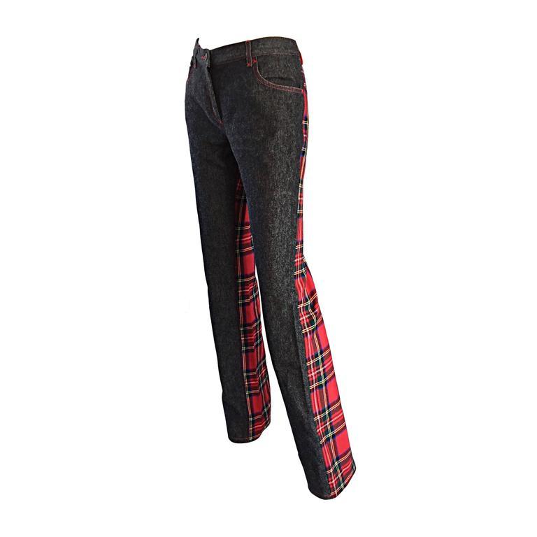 Rare Dolce & Gabbana Boot Cut Denim Pants Trousers w/ Tartan Plaid Back
