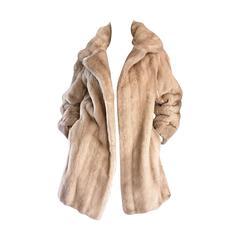 Incredible Vintage Lilli Ann 1960s Faux Fur Blonde Tan 60s Swing Jacket Coat