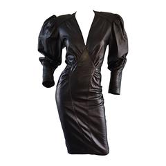 Sexy Vintage 1980s North Beach Leather 80s Body Con Avant Garde Open Back Dress