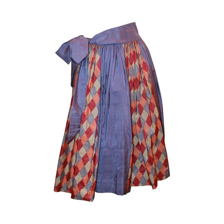 YSL Rive Gauche 1970's Lavender Silk Mid Length Skirt w/ Diamond Print - 36