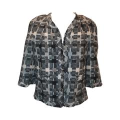 Chanel Grey Tweed Criss-Cross Patterned Open Front Jacket - 05A - 42