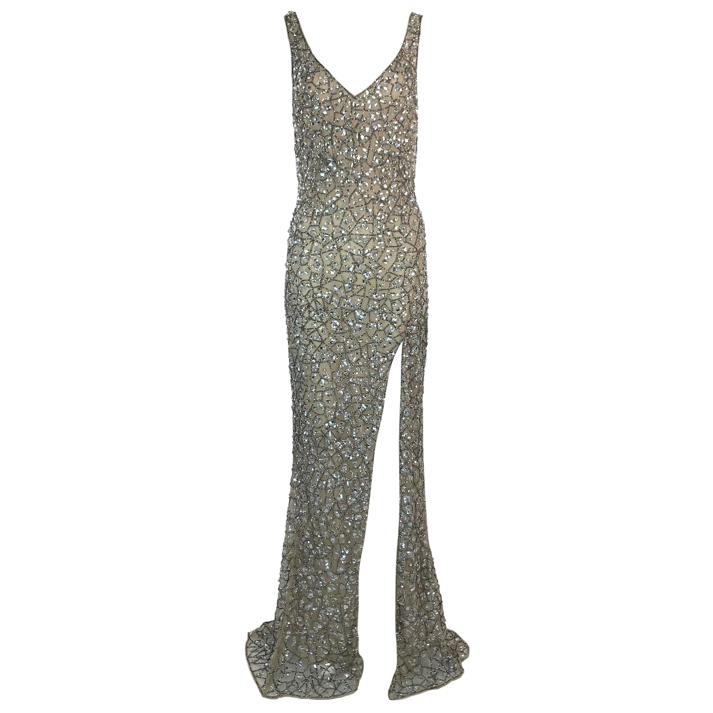 Unworn S/S 2019 Roberto Cavalli Plunging Crystal Embellished High Slit Gown