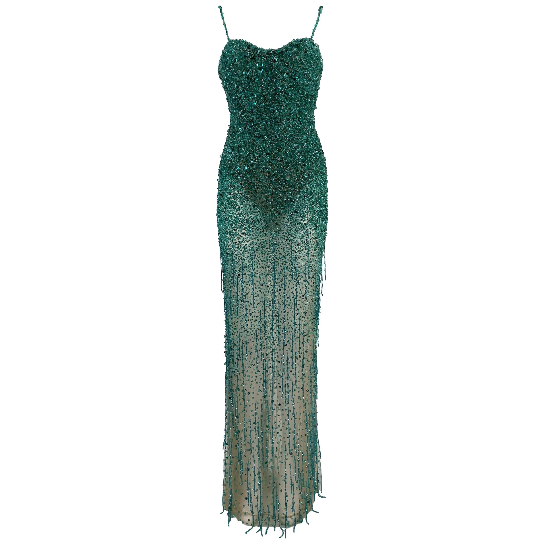 Roberto Cavalli Couture Sheer Nude Mesh Green Beaded Bodysuit Gown Dress