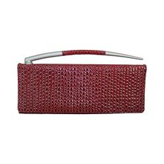 Charles Jourdan Red Embossed Patent Embossed Clutch w/ Silver Horn Handle
