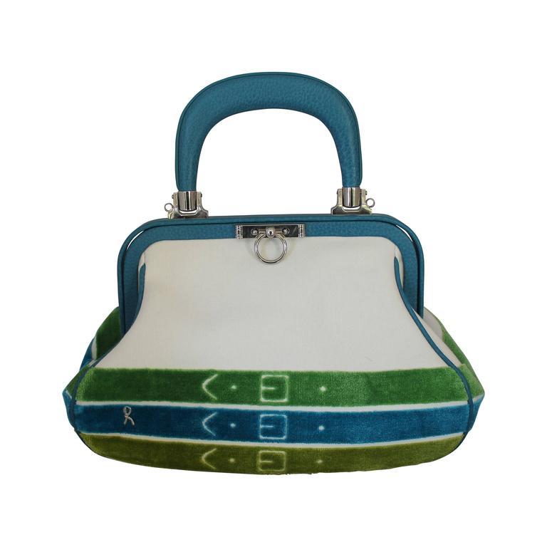 Roberta Di Camerino 1990s Turquoise Velvet Handbag QI9WnZ