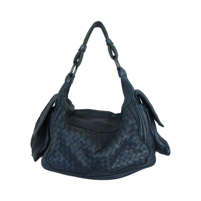 Bottega Veneta Navy Woven Leather Large Shoulder Bag