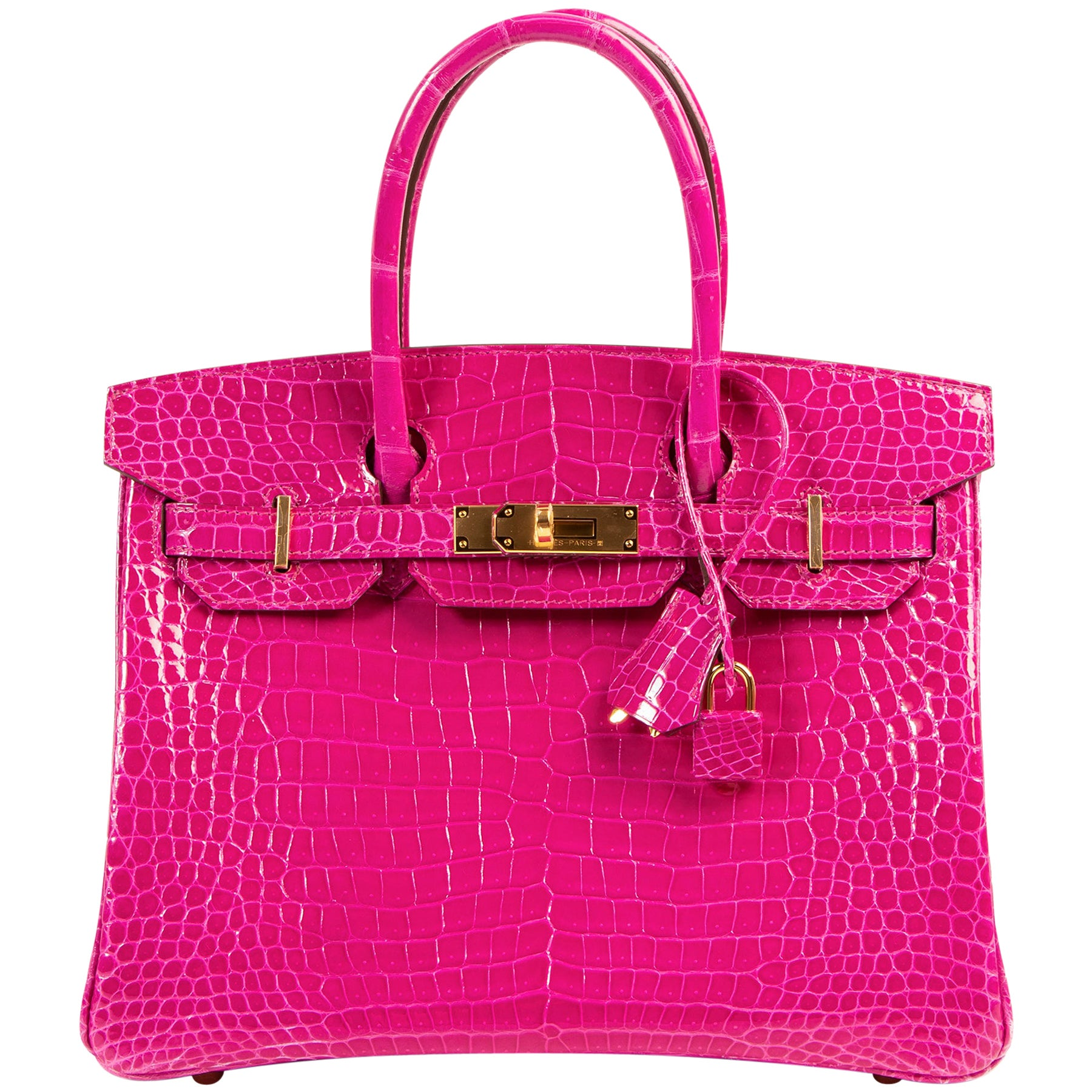 BRAND NEW Hermès Birkin 30 Crocodile Porosus Lisse Rose Sheherazade GHW