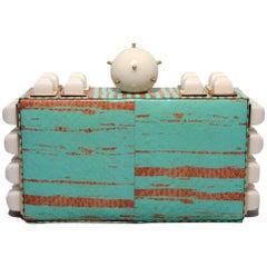 Tanya Hawkes Teal and White Embellished Box Clutch