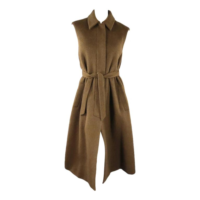YVES SAINT LAURENT YSL Rive Gauche Size 6 Brown Cashmere Sleeveless Coat New 1