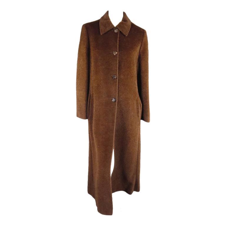 MAX MARA Size 10 Brown Fuzzy Textured Alpaca / Vrgin Wool ...