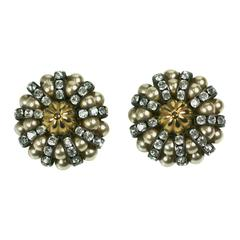 French Pearl and Pave Rondel Cluster Earrings