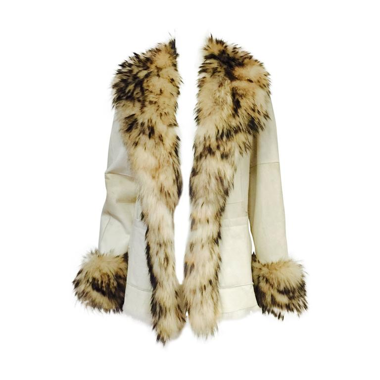 Luxurious Fox Trimmed Reversible Ivory Leather and Rabbit Long Jacket  For Sale