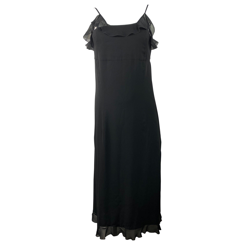 Chanel Boutique Black Silk Slip Dress Size 38
