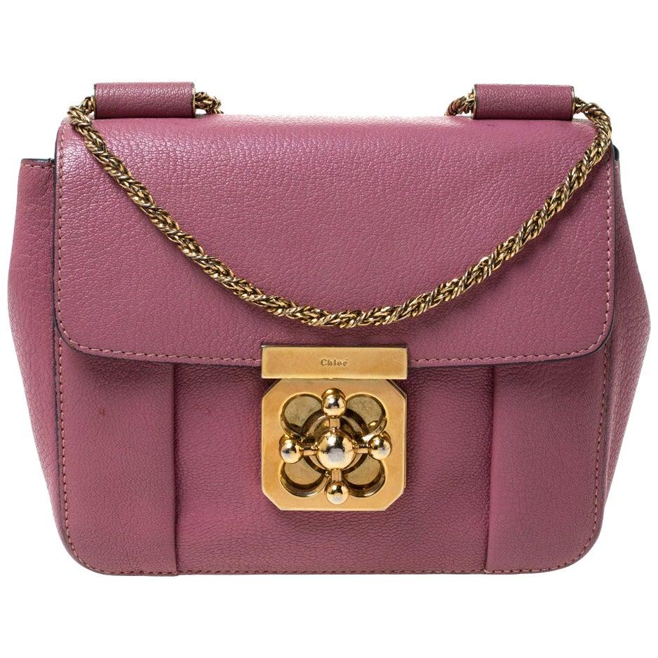 Chloe Old Rose Leather Small Elsie Shoulder Bag
