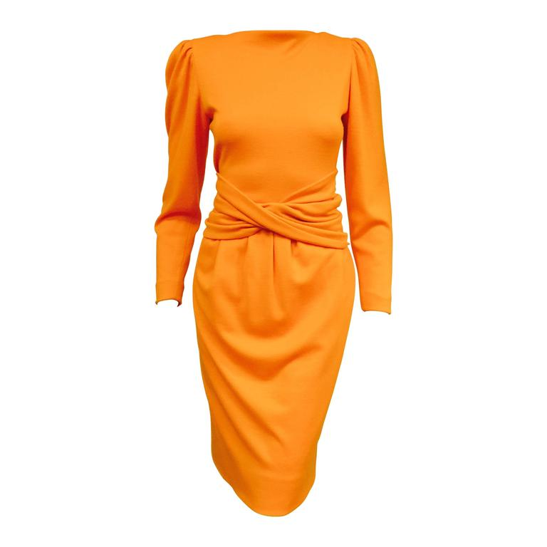 1980s Lanvin Paris Mandarin Orange Wool Long Sleeve Day Dress  1
