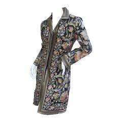 Extravagant Flower Embroidered Silk Evening Coat