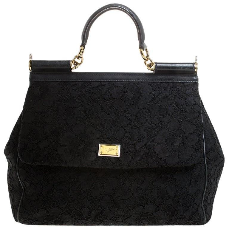 Dolce & Gabbana Black Lace Miss Sicily Top Handle Bag