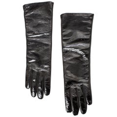 Prada Black Patent Leather Gloves