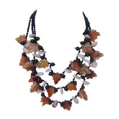 Artisan Carved Glass Beaded Leaf Necklace