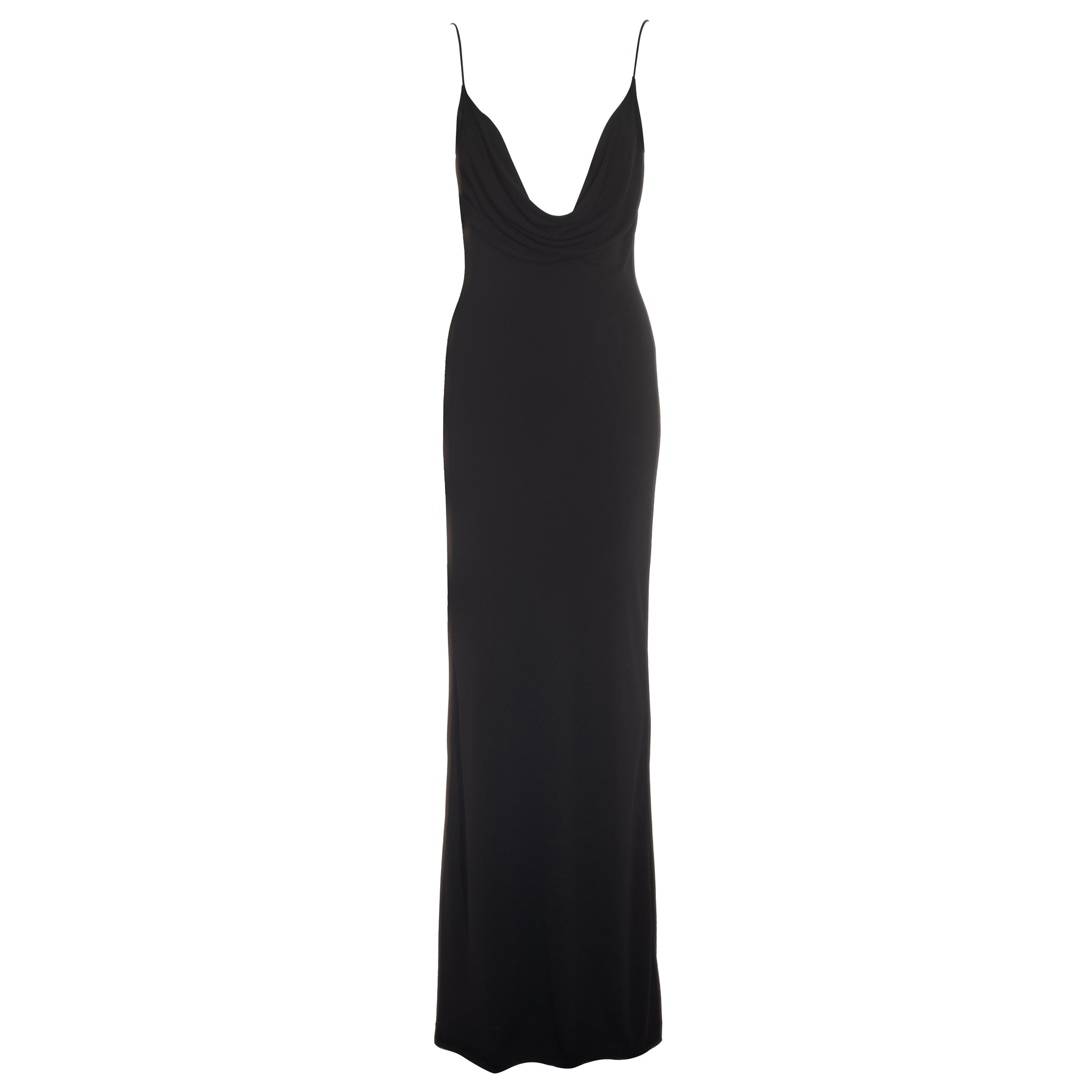 Gucci by Tom Ford black rayon jersey maxi dress with low plunge, fw 1997