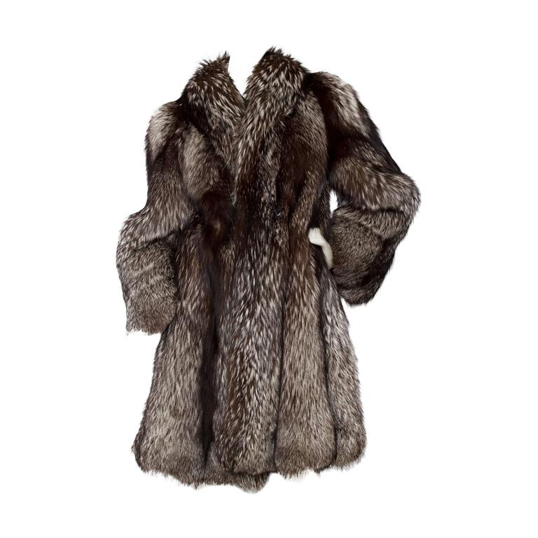 1980s SIlver Fox Fur Coat
