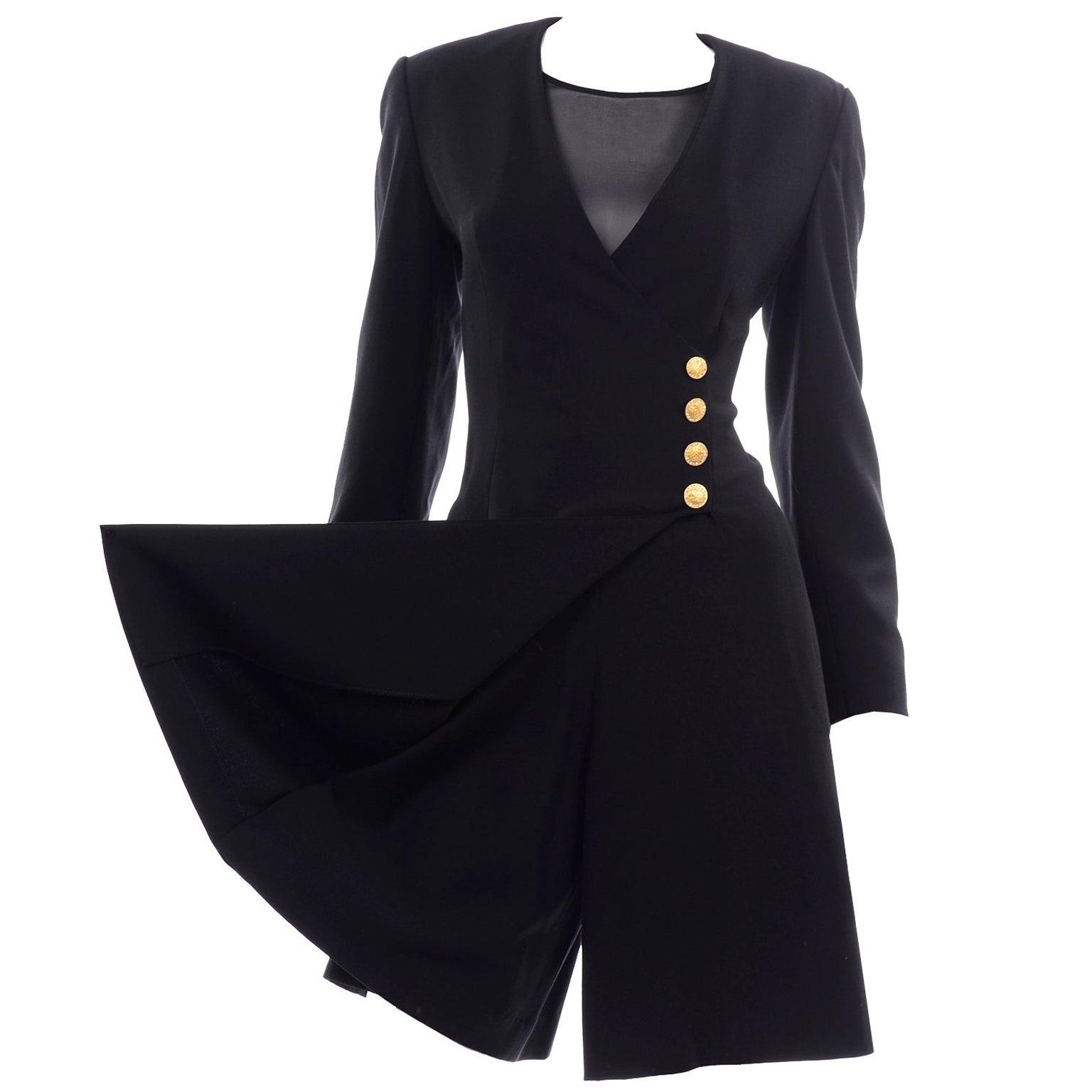 Escada Couture Margaretha Ley Vintage Black Wool Romper Dress Alternative