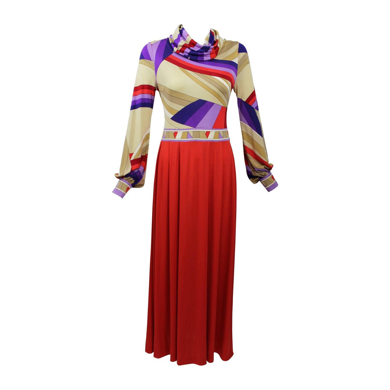 1970s Leonard Paris Silk Jersey Swirl Print Maxi Dress Vintage Doented For At 1stdibs