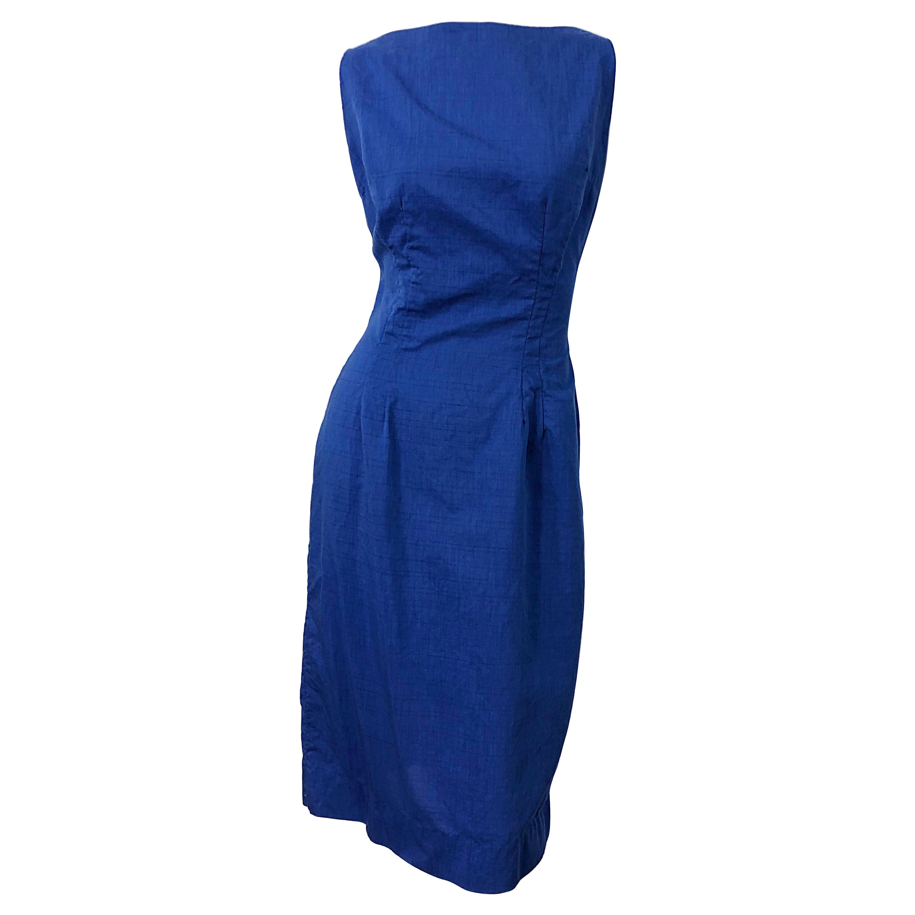 Chic 1950s Cobalt Blue Cotton High Neck Vintage 50s Sleeveless Wiggle Dress