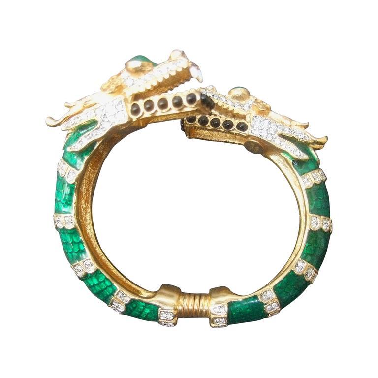 Ken Lane Exotic Jeweled Enamel Dragon Bracelet. For Sale