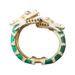 Ken Lane Exotic Jeweled Enamel Dragon Bracelet.