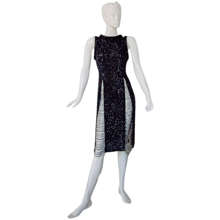 Jean Paul Gaultier Xtra Thigh High Sequin Body Hugging Evening Dress