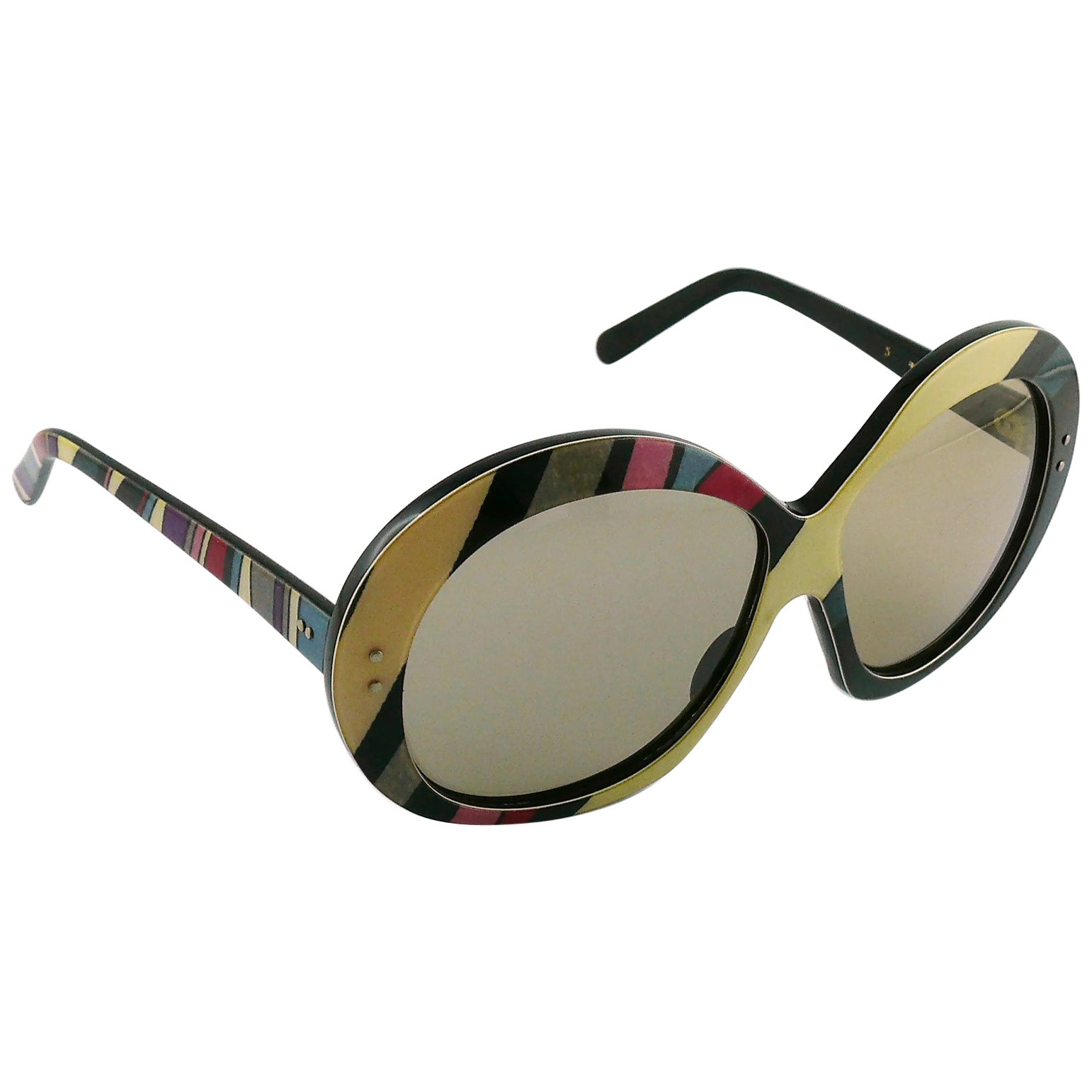 Emilio Pucci Vintage Oversized Iconic Psychedelic Print Sunglasses