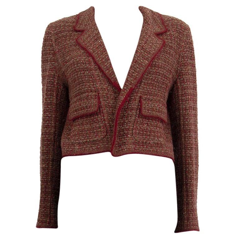 CHANEL brown burgundy  wool Cropped Knit Blazer Jacket 40 M