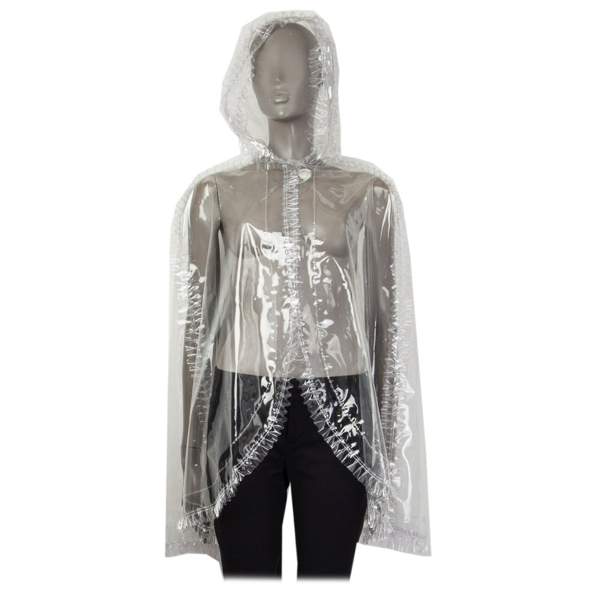 CHANEL clear PVC Rain Cape Jacket M SS 2018 Runway