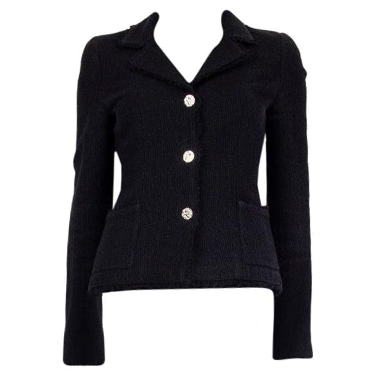 CHANEL black wool & silk THREE BUTTON Blazer Jacket 36 XS