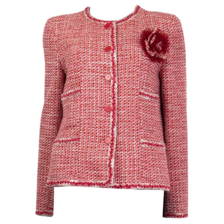 CHANEL pink white wool Tweed FLOWER BROOCH Blazer Jacket 42 L