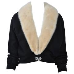 Black Cashmere Cardigan with White Mink Collar