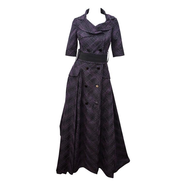 Carolina Herrera Purple and Black Patterned Gown