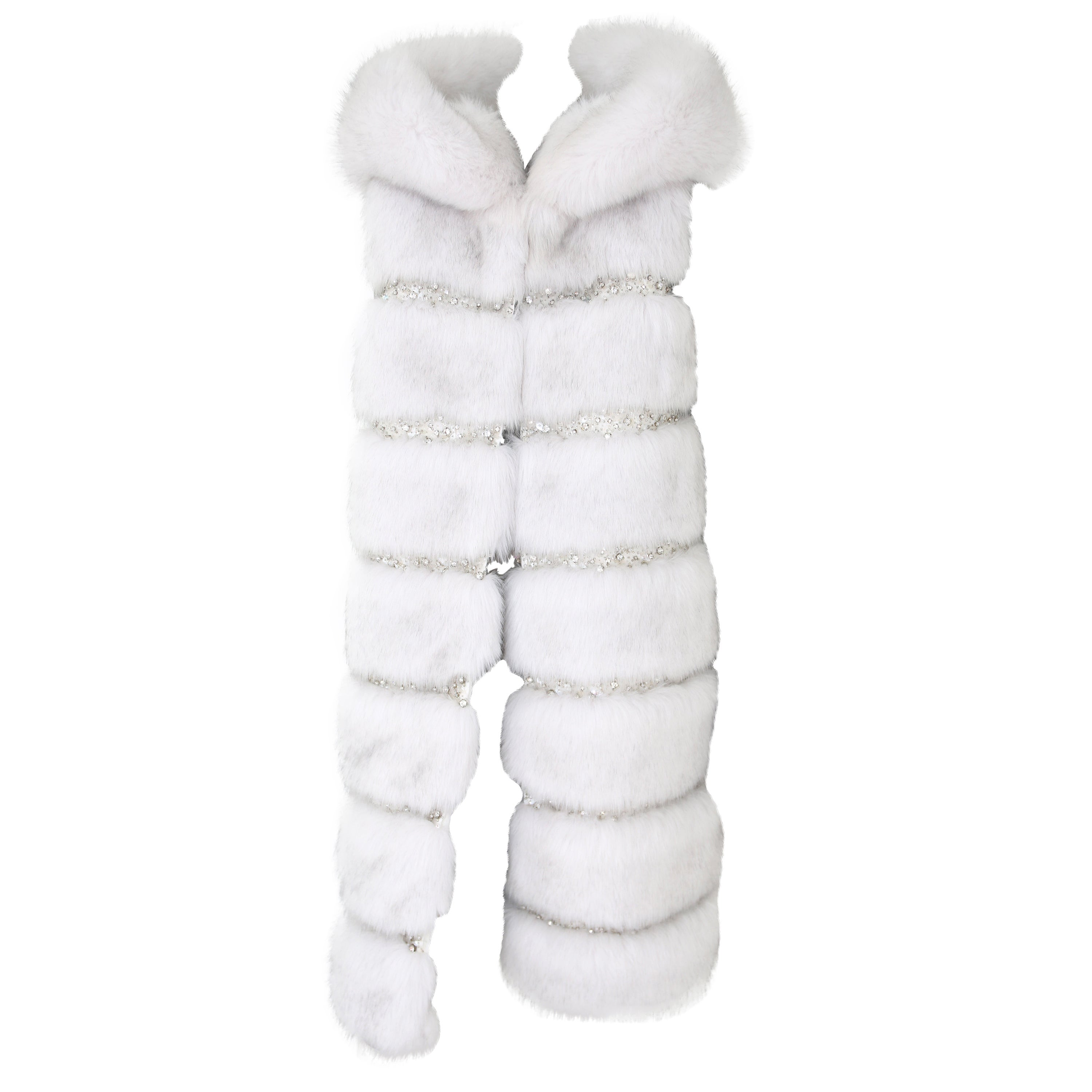 Pelush White Faux Fur Fox Vest With Crystal Embroidery And Detachable Hood - S