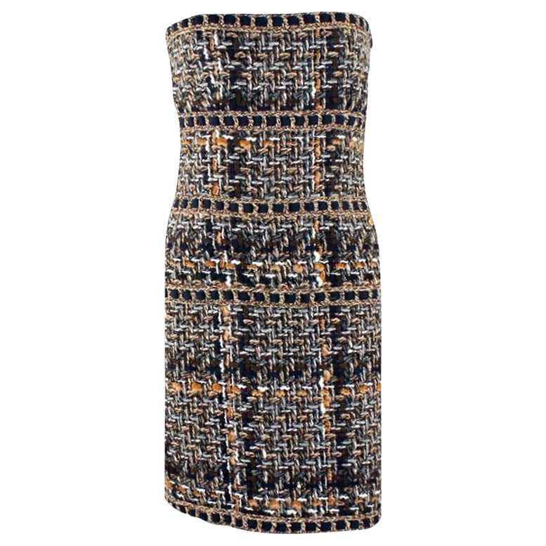 NEW Chanel Multicolor Lesage Metallic Braided Fantasy Tweed Dress