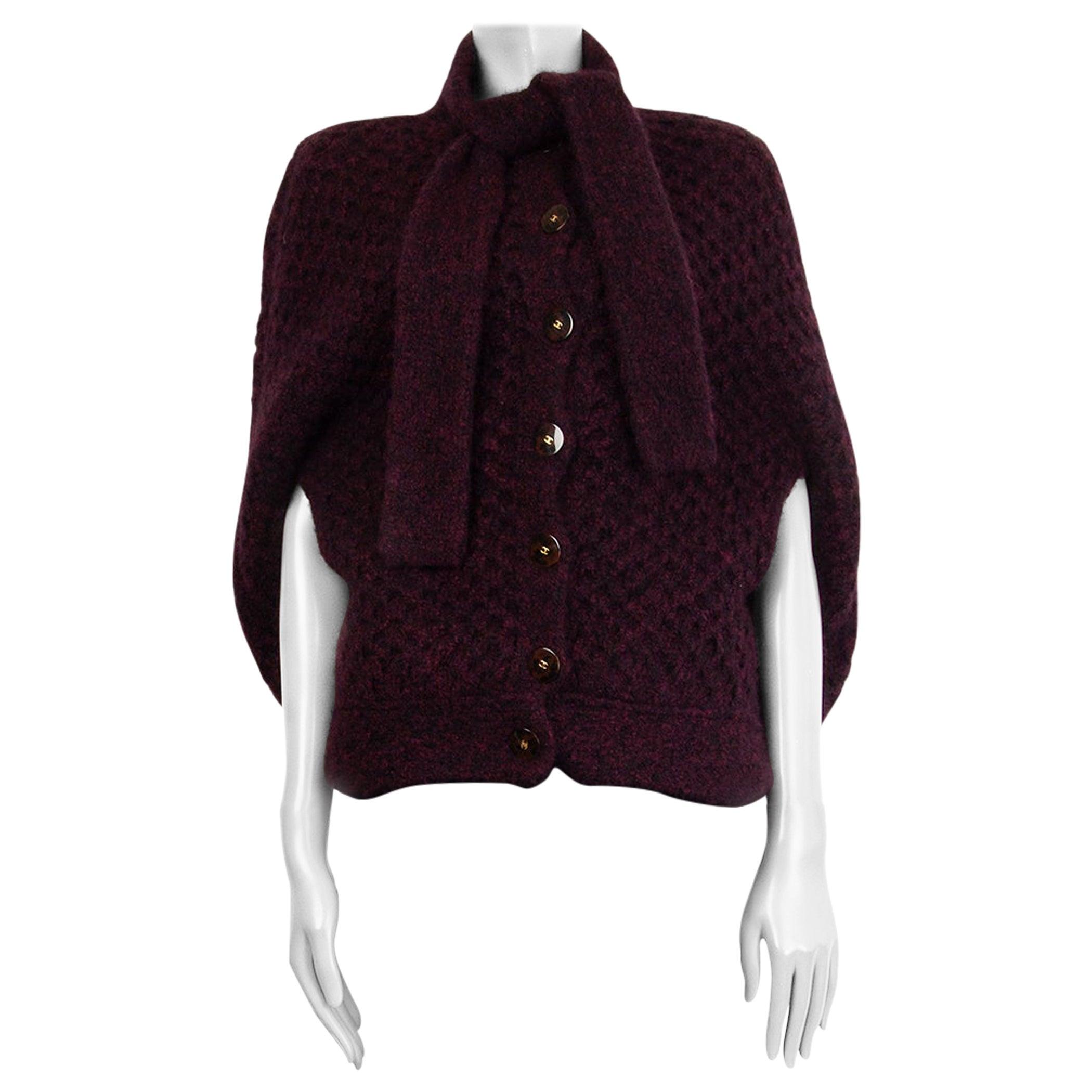 CHANEL burgundy cashmere COSMOPOLITE Cape Jacket 34 36 XS