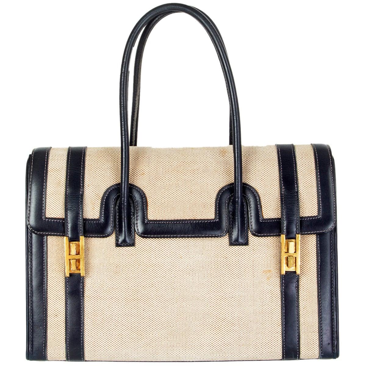 HERMES Blue Marine Box leather & Toile H DRAG 30 Bag VINTAGE