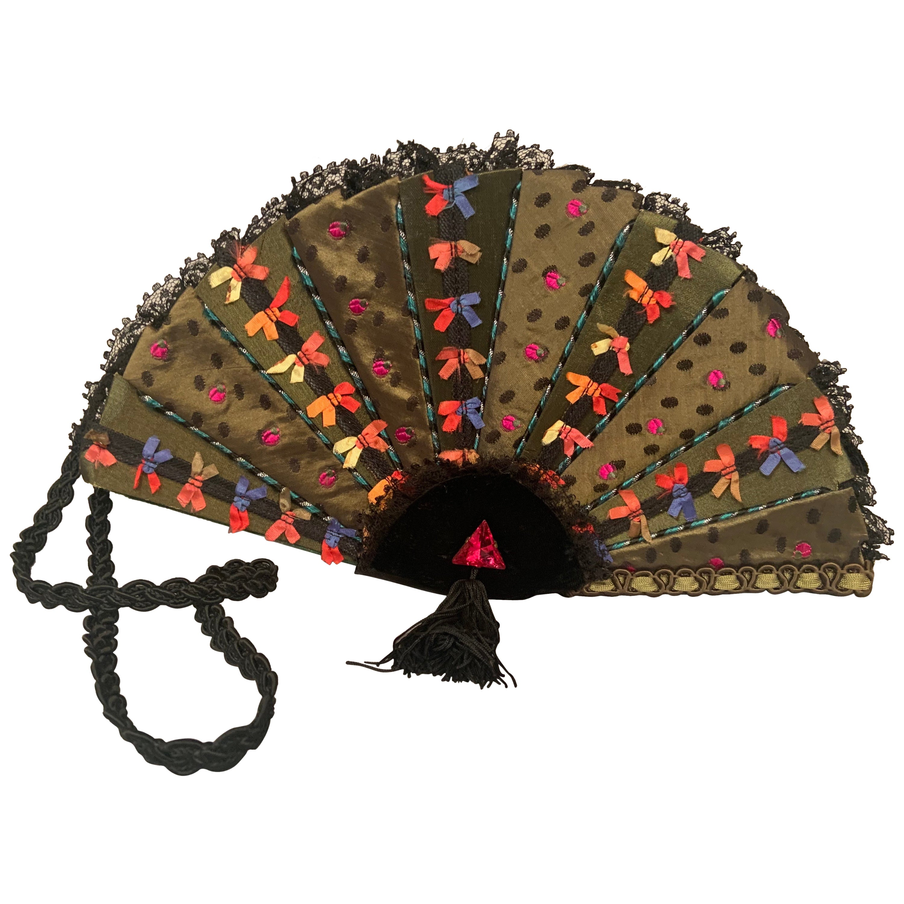 """Helene Angeli  """"Fan"""" Shaped Evening Bag with Bows, Lace, Polka Dots and a Jewel"""