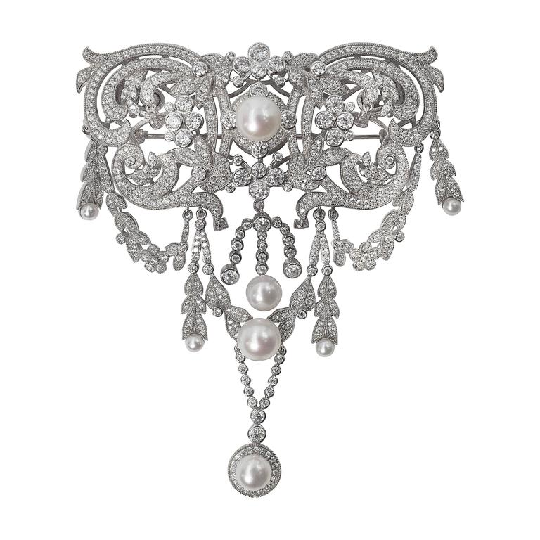 Magnificent Edwardian Garland Style Large Faux Diamond Pin 1